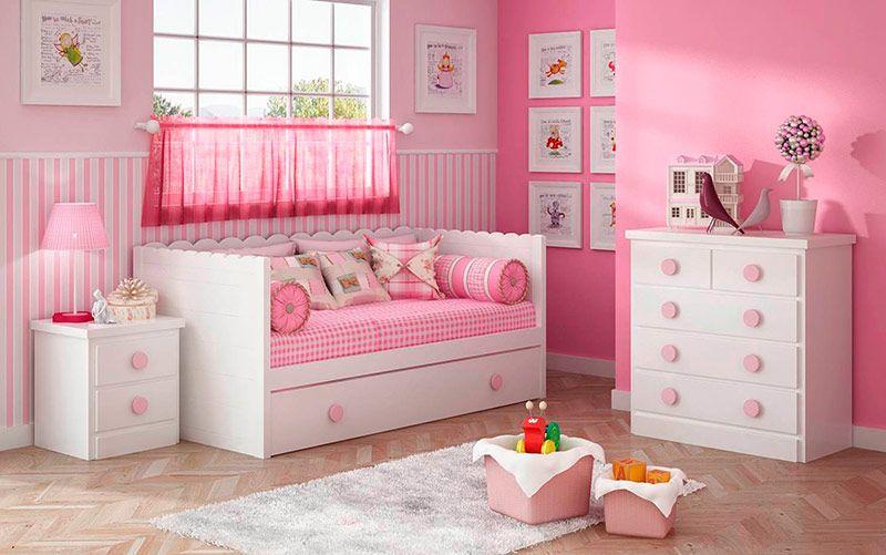 Dormitorio con cama nido de ondas decoraci n en rosa for Decoracion de la habitacion de nina rosa