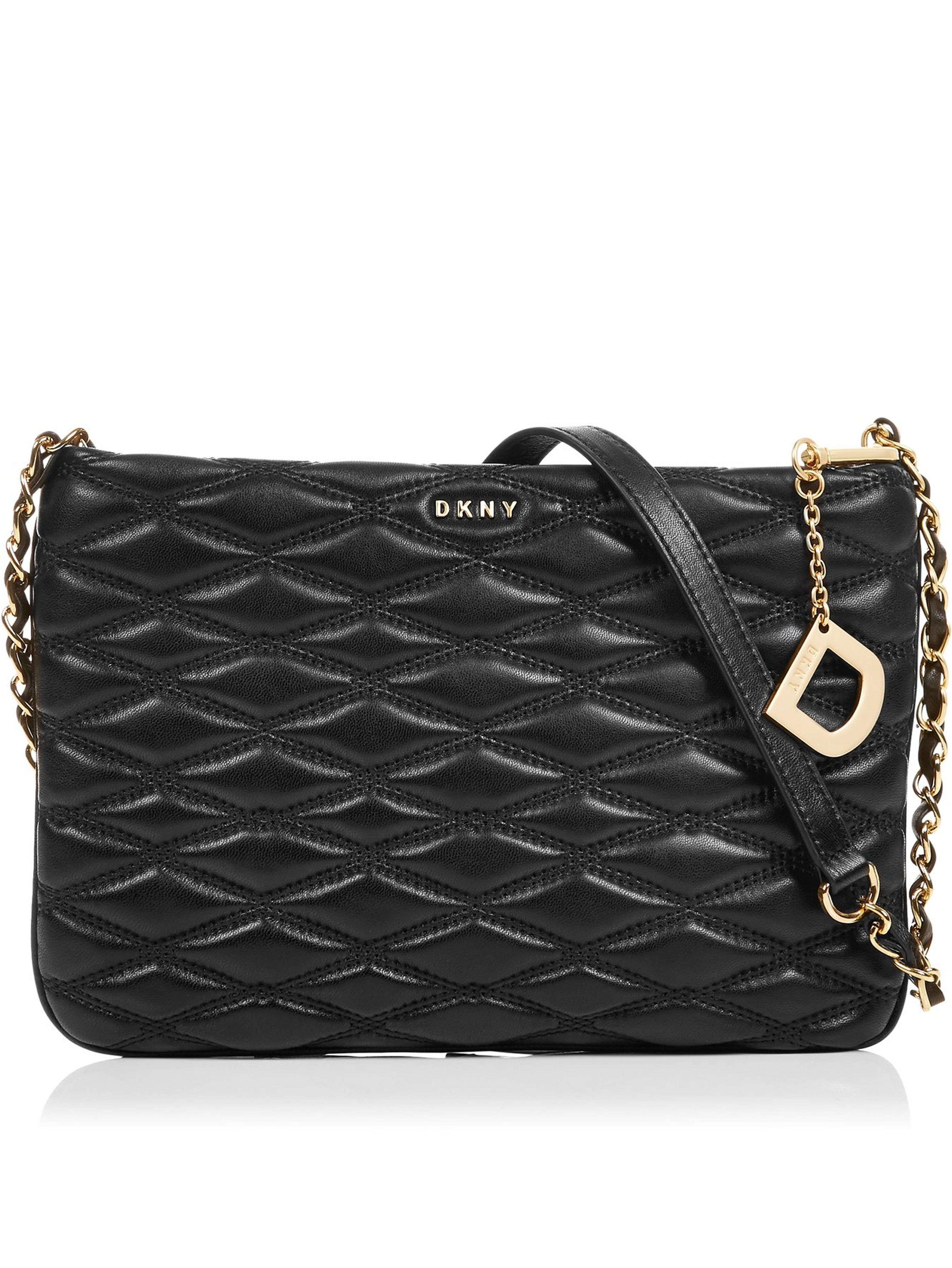 7f944b6746 DKNY Lara Top Zip Diamond Quilted Cross-Body Bag- BlackSize    FitDimensions  Height  18cm x Width  27cm x Depth  3.5cmStrap drop  53cm  DetailsLara Top Zip ...