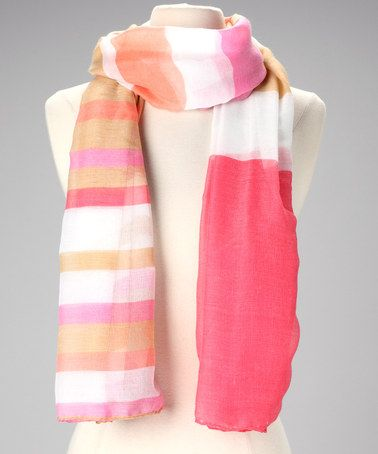 Pink & Tan Stripe Scarf by Capelli New York