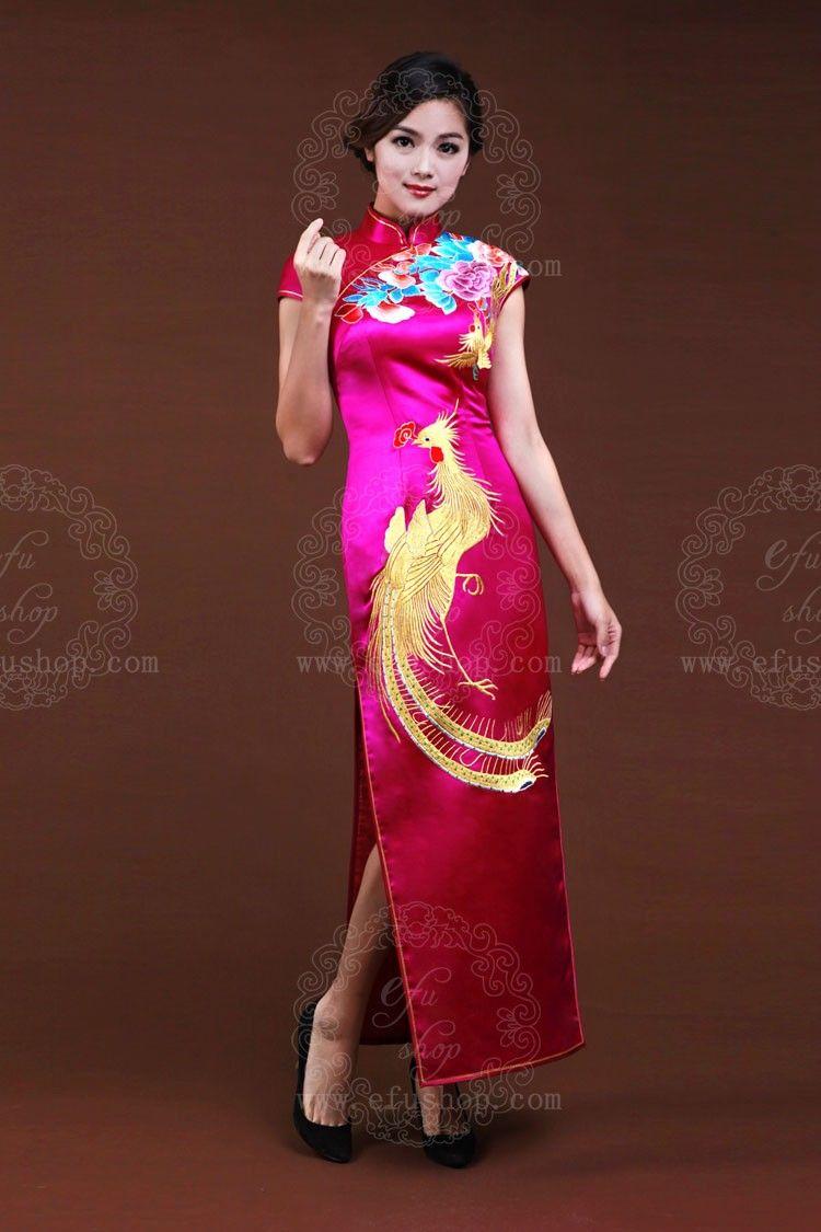 Rosy Silk Cheongsam With Golden Phoenix Custom Made Cheongsam Chinese Clothes Qipao Chinese Dresses Chinese Clothing Efu Tailor Sh Dresses Cheongsam Qipao [ 1125 x 750 Pixel ]