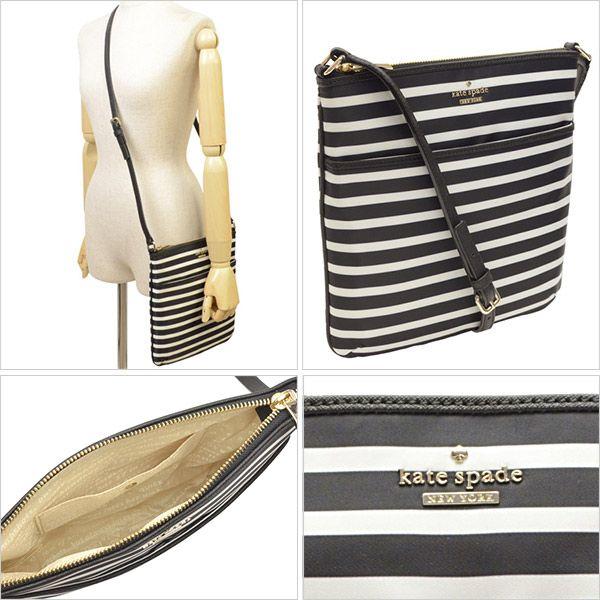 45c29f22560 Kate Spade New York Classic Black white striped Nylon Joni Crossbody ...