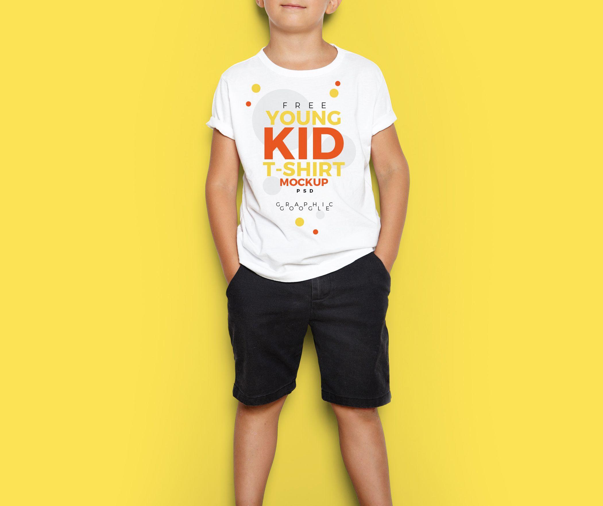 Download Free Young Kid T Shirt Mockup Psd Kaos Anak Pengasuh Anak