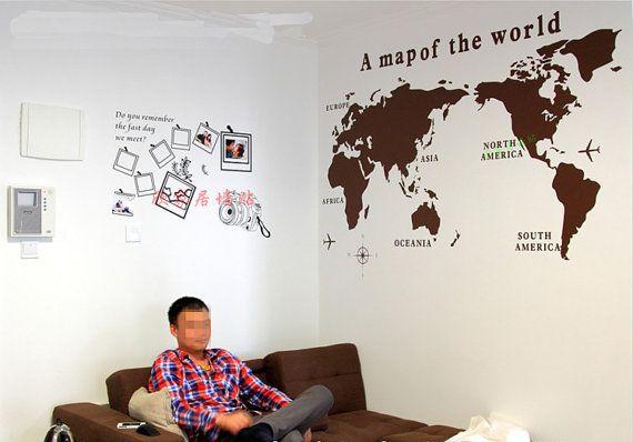 Medium size world map Vinyl Sticker-World Map Wall by TheEasyLife