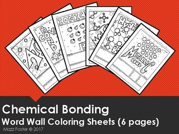 Chemical Bonding W T Atom And Molecule Word Wall Coloring Sheets