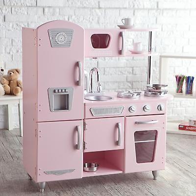 Kids Vintage Kitchen Set Play Pink Pretend Toy Cooking Children Retro Cookware