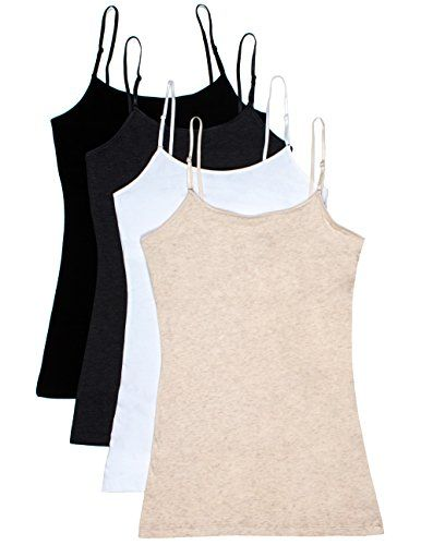 Caramel Cantina Shelf Bra Cami Tank-Top in Assorted Colors 2 or 4-Pack *** Click image to review more details.