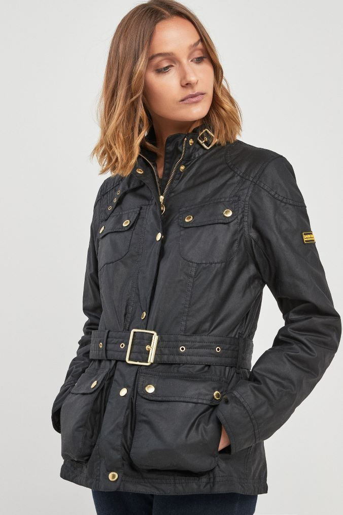 0774d44b85c2a Womens Barbour International Black Oulton Wax Jacket - Black ...