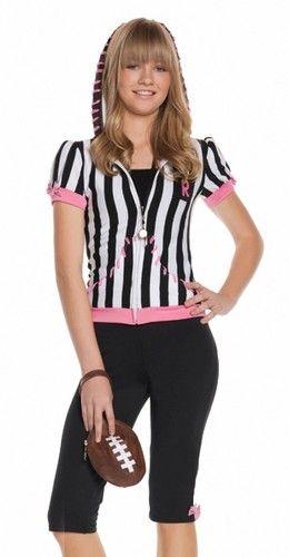teen tween girls football referee halloween costume ebay - Girls Football Halloween Costume