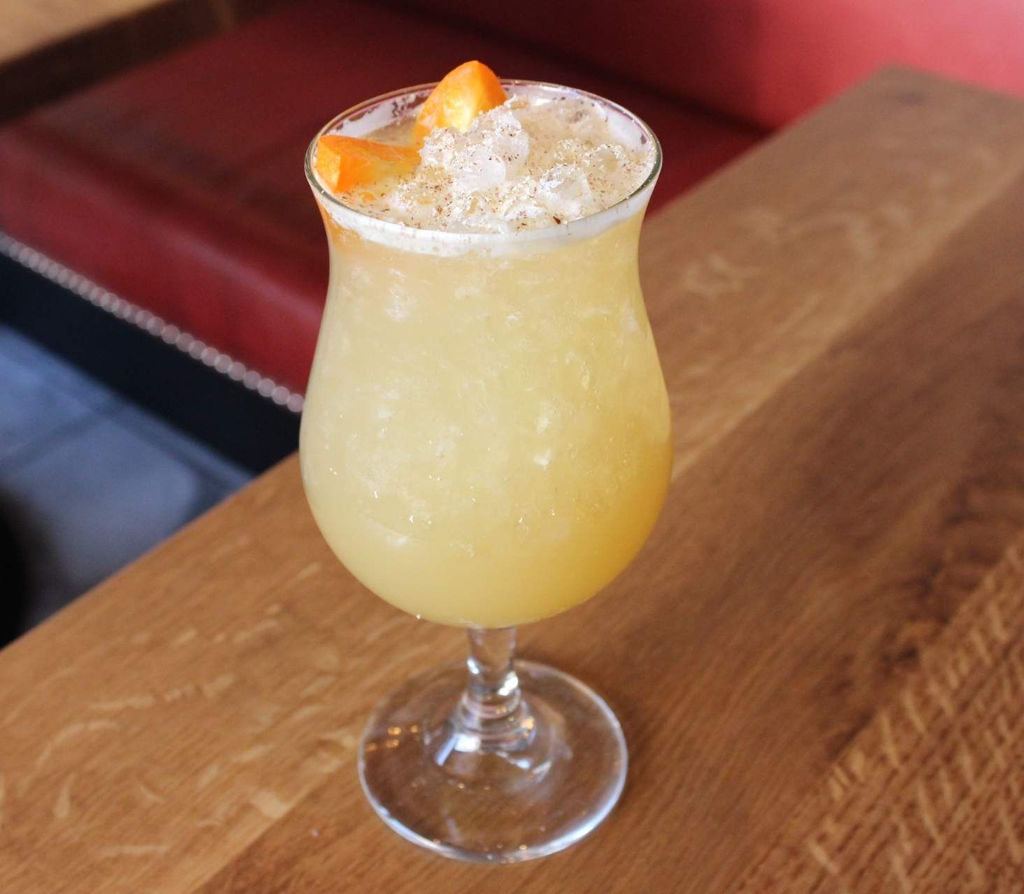 Beer cocktails are perfect for brunch. This one includes aged rum, ginger, kumquat, saison, and allspice.