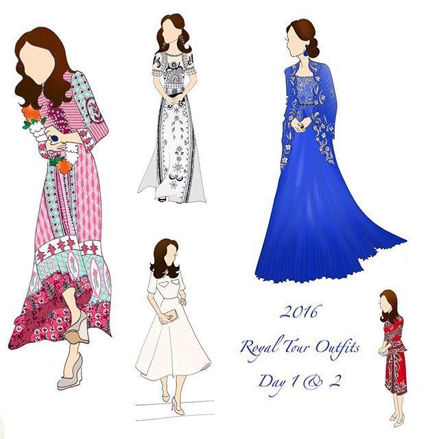 New outfits for the Royal Tour! About 17 hours worth of drawing in one little Instagram photo ;) #etsyshop #duchessofcambridge #katemiddleton #digitalart #digitalprint #digitalartwork #royaltour @replikateitprints