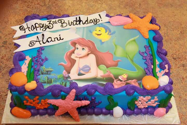 Ariel Sheet Cake With Images Mermaid Birthday Cakes Little
