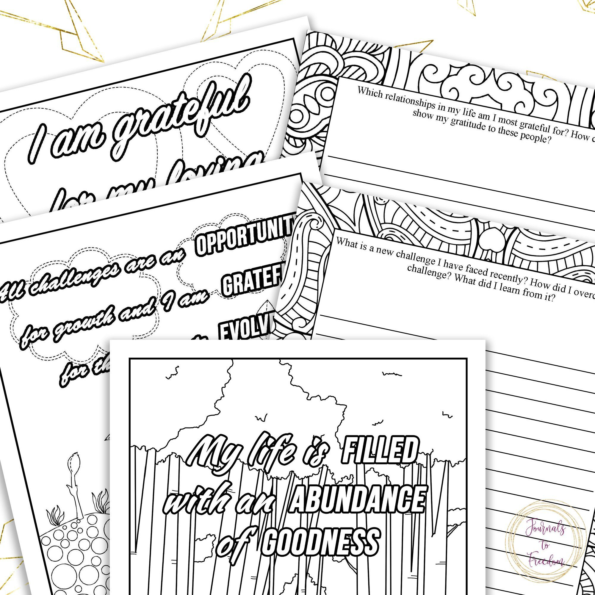 Gratitude & Positive Affirmations Coloring Pages & Journal