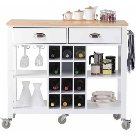 Homestar Wide Kitchen Island Cart Walmartcom Walmart - Kitchen island cart walmart