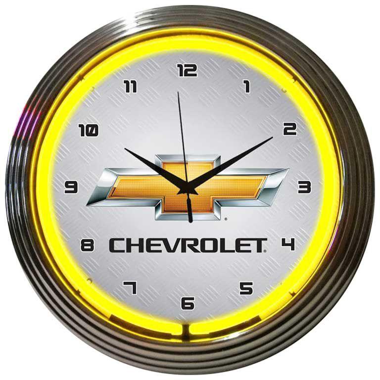 Chevrolet Neon Clock Chevy Mall Neon Clock Wall Clock Glass Chevrolet Emblem