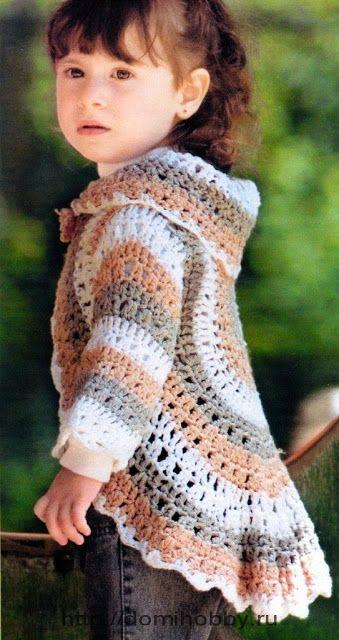 Patrón #965: Chaleco Redondo Niña a Crochet #ctejidas http://blgs.co ...