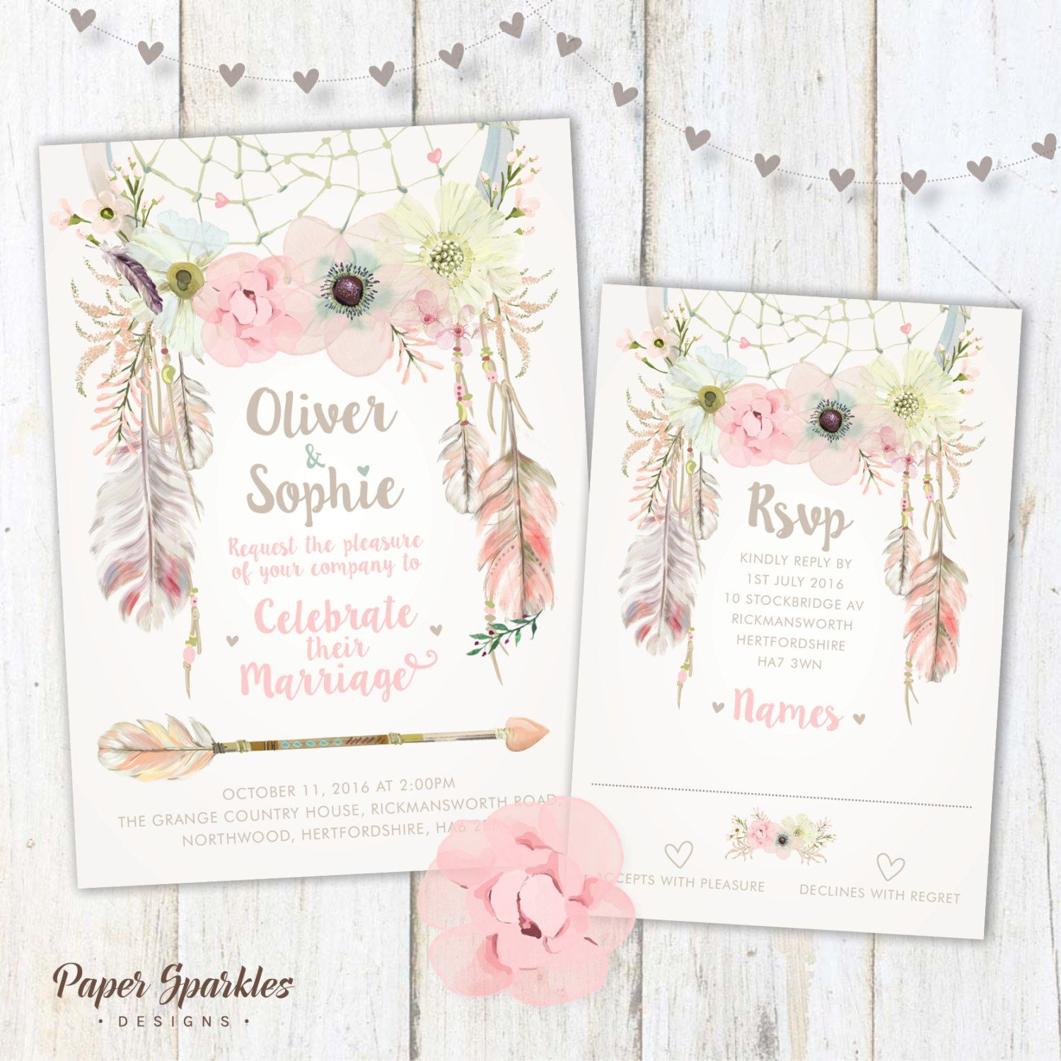 Boho Wedding Invitation Floral Wedding Dreamcatcher Wedding