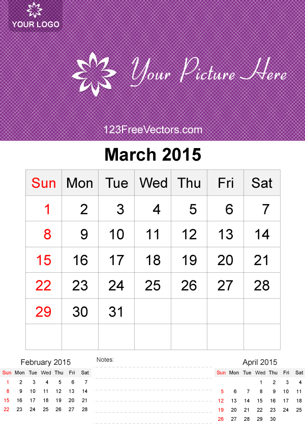 March 2015 Calendar Template Vector Free Free Vectors Pinterest