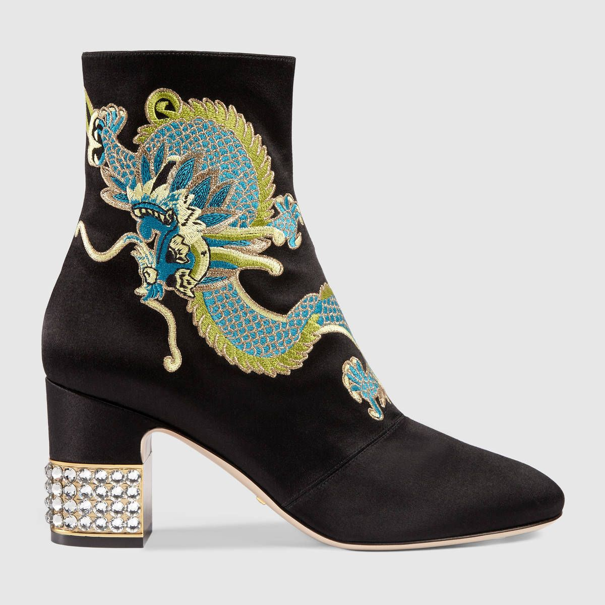 e5e7199448fb7 Gucci Dragon satin mid-heel ankle boot Detail 5 | My Shoes in 2019 ...