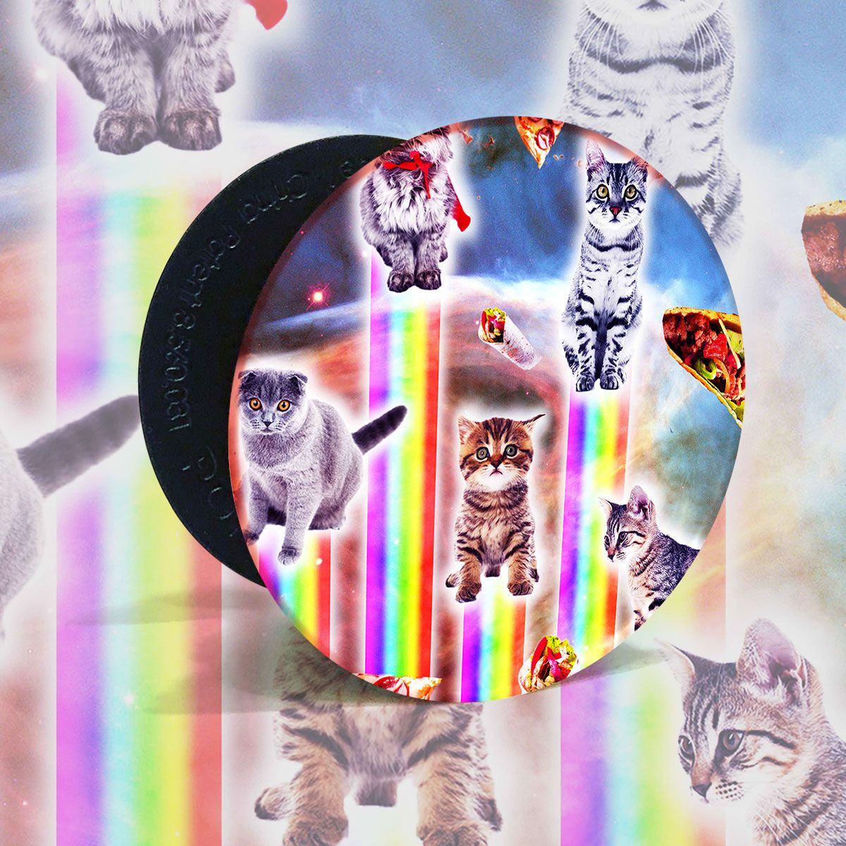 Outer Space Galaxy Cats With Rainbow Popsockets Grip And Stand For Phones And Tablets Popsockets Galaxy Cat Tablet