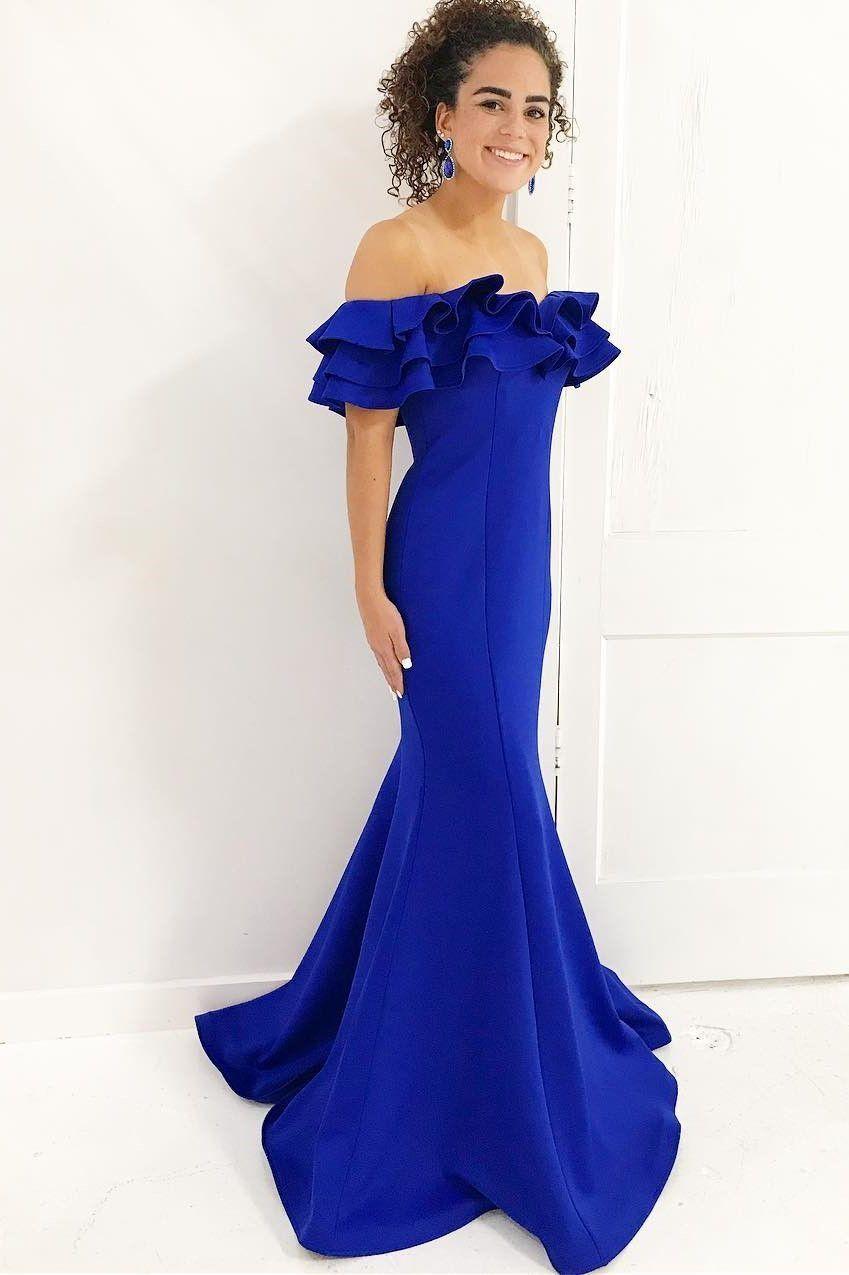 Custom made magnificent prom dresses long off shoulder royal blue