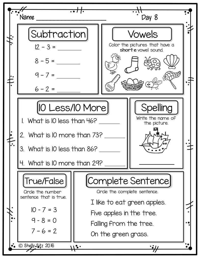 small resolution of Free spiral review for first grade. Great for morning work