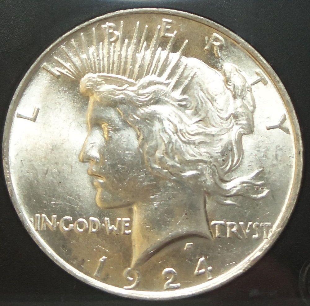 Genuine Uncirculated 1924 Peace 90 Silver 1 Dollar Bu Pcs Coin