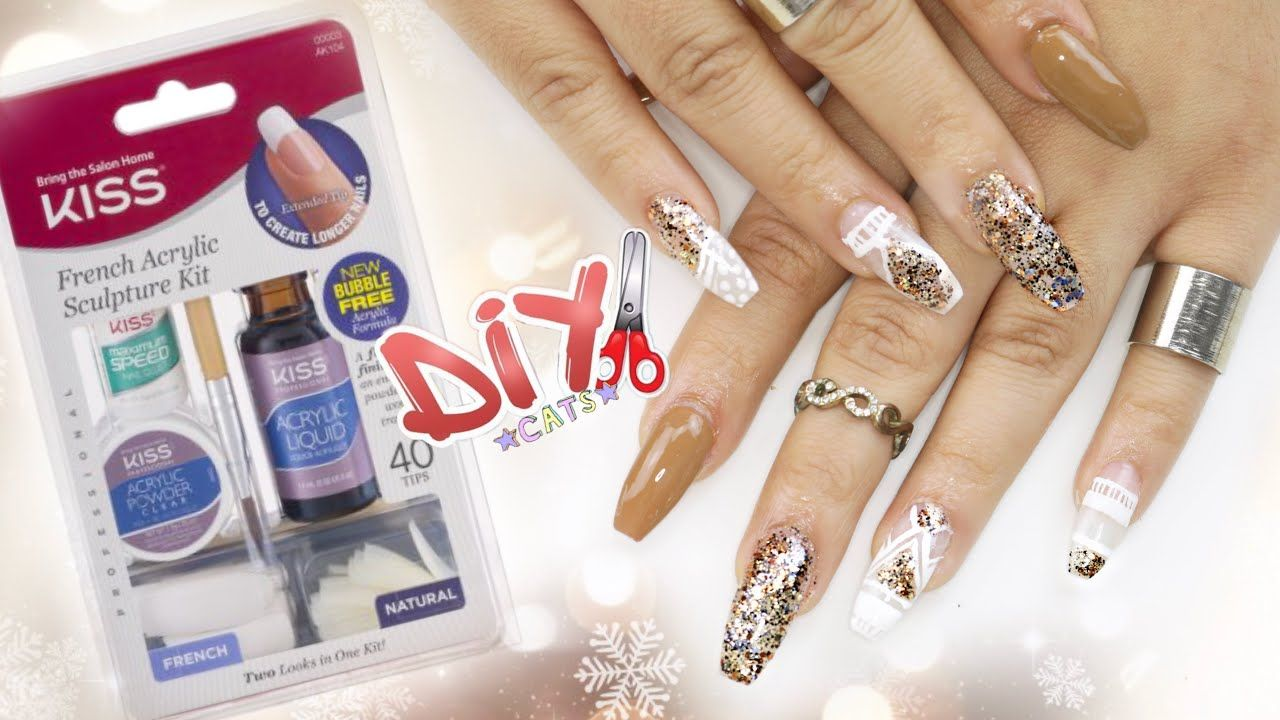 Diy Kiss Acrylic Nail Kit Coffin Nails Step By Step Acrylic Nail Kit Nail Kit Diy Nail Kit