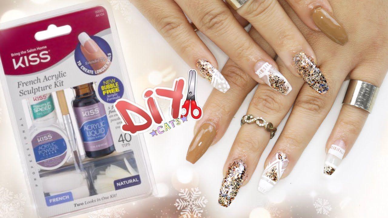 Diy kiss acrylic nail kit coffin nails step by step