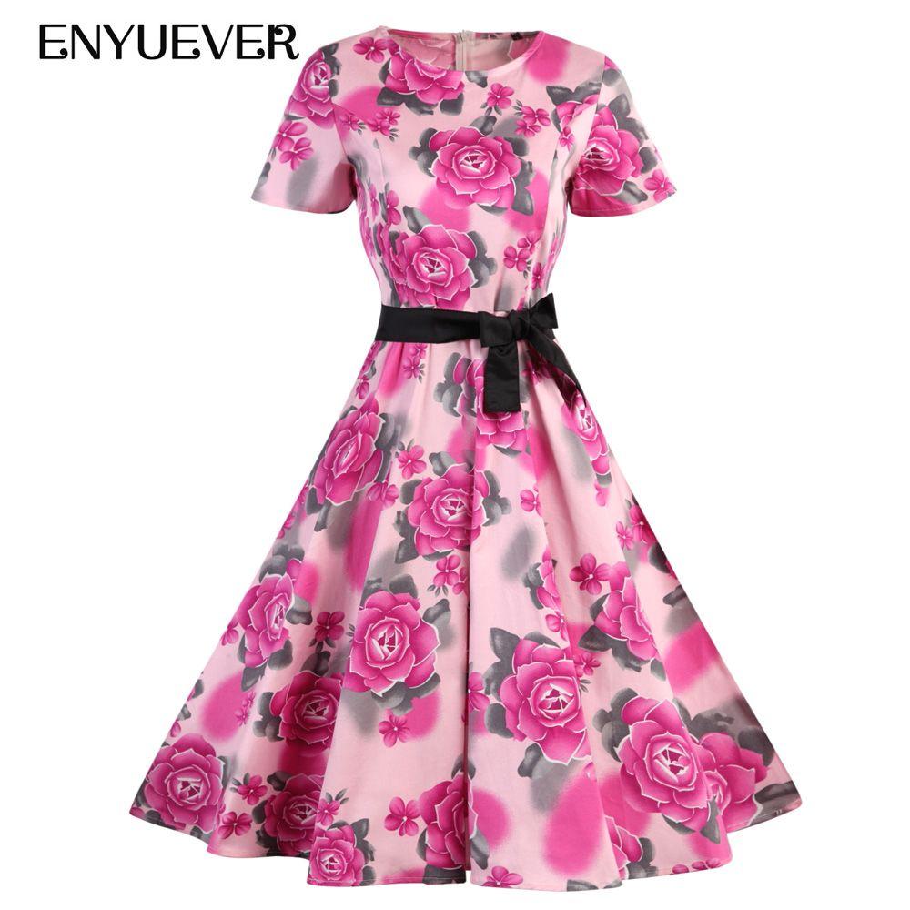 Günstige Enyuever Frauen Sommerkleider Casual Blumendruck Kleid ...