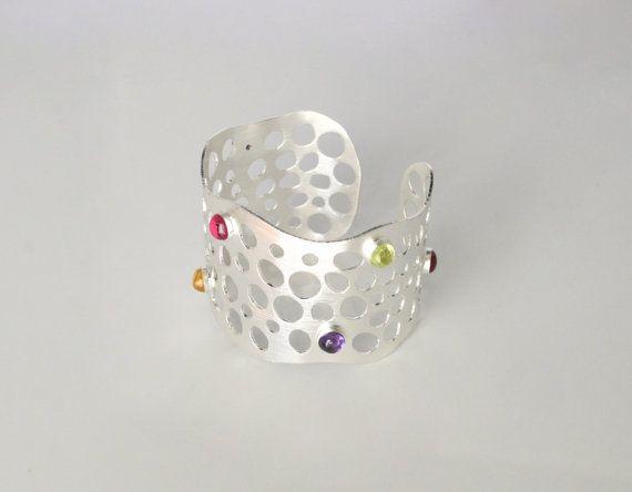 Handmade sterling silver cuff bracelet with door SilverSandJewelry