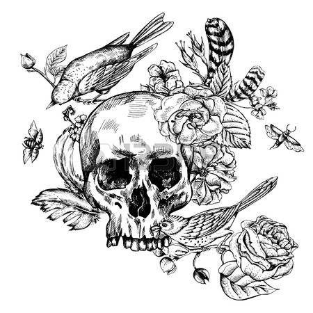 tatouage tete de mort cr ne avec fleurs roses oiseaux. Black Bedroom Furniture Sets. Home Design Ideas