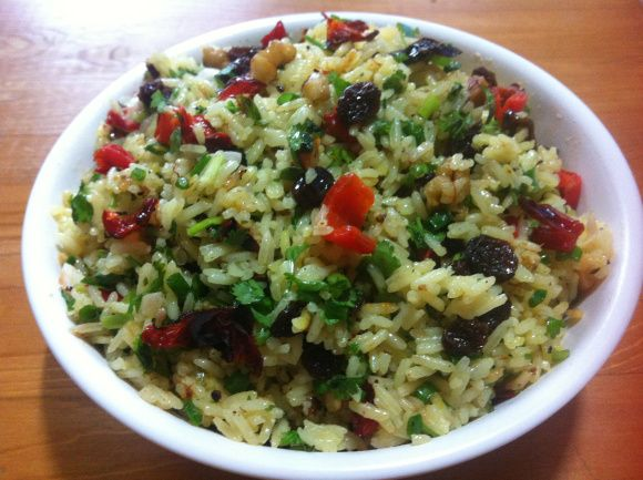 Indian rice salad - a sweet and spice filed salad to jazz up dinner time.