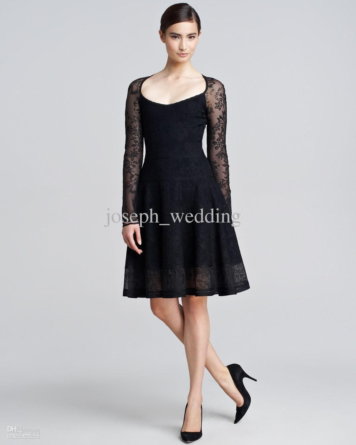 A Line Wide Scoop Long Sleeve Knee length Lace Black Cocktail Dress