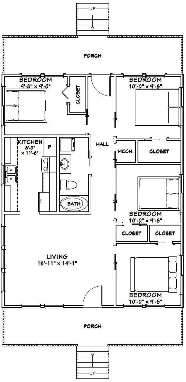 28x36 House 4Bedroom 1Bath 1008 sq ft PDF Floor Etsy