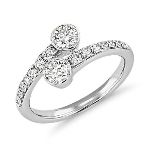 Three-Stone Lab Diamond Ring Engagement Band in 14k White Gold 2.03 Carats T.W