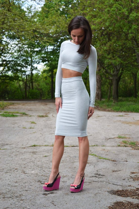 3acb7c15cdc Set Of Two 2 High Waist High Rise Pencil Tight Skirt And Short Cropped Top  Crop Top High Waisted Ski