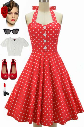 b194891a06b 50s-Style-Miss-Mabel-RED-with-LARGE-Polka-Dots-Pinup-HALTER -Sun-Dress-w-BUTTONS
