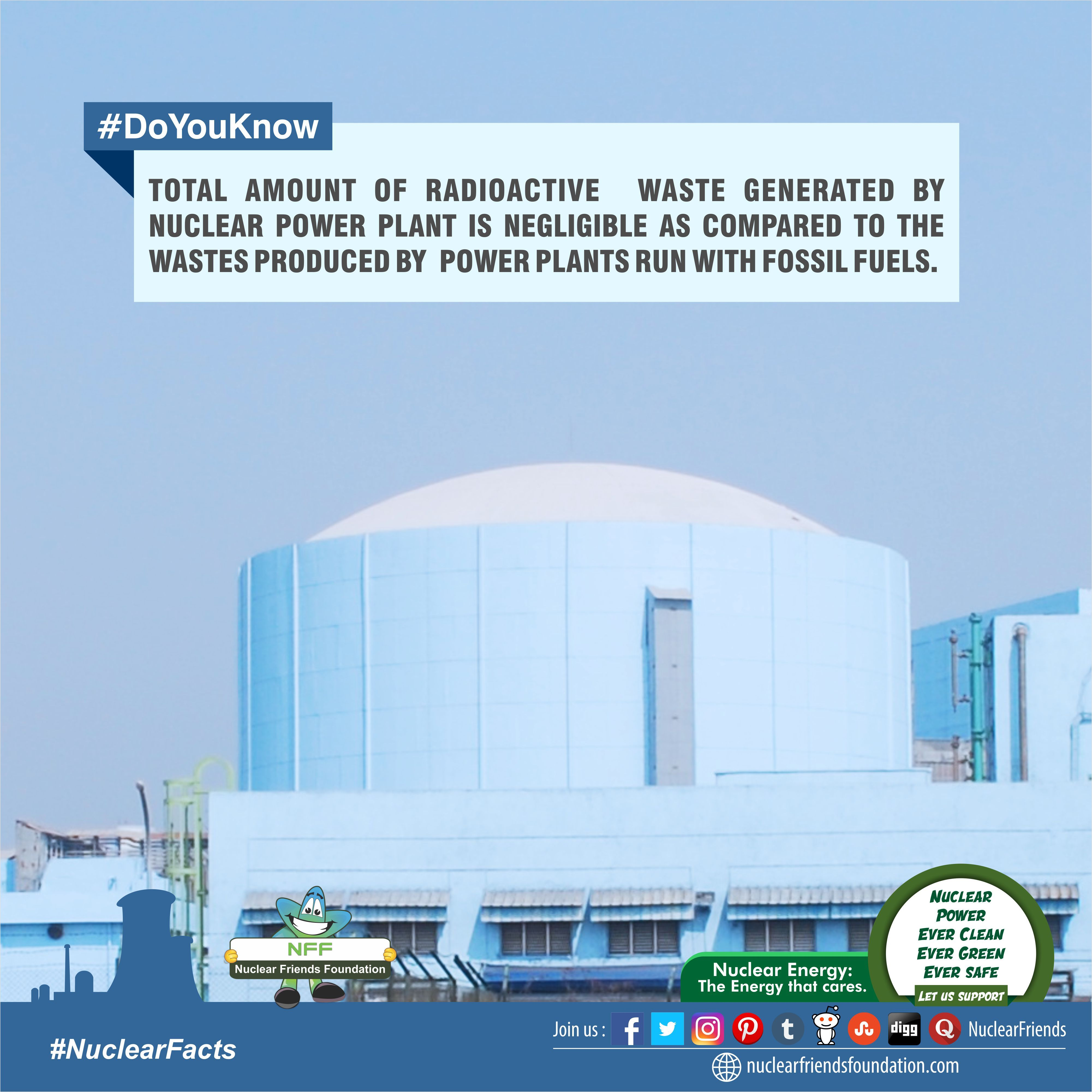 Doyouknow Total Amount Of Radioactive Waste Generated By Nuclear Power Plant Is Negligible As Compared To The Nuclear Energy Nuclear Power Plant Nuclear Power