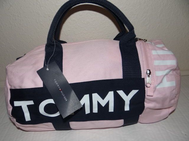 Tommy Hilfiger Womens Light Pink Navy Small Duffle Bag
