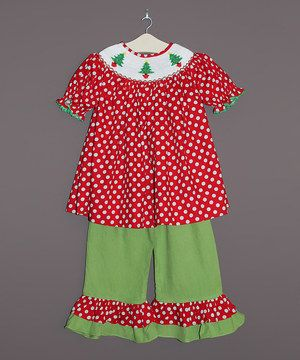 Loving this The Smocked Shop Red Polka Dot Smocked Top & Green Pants - Infant, Toddler & Girls on #zulily! #zulilyfinds