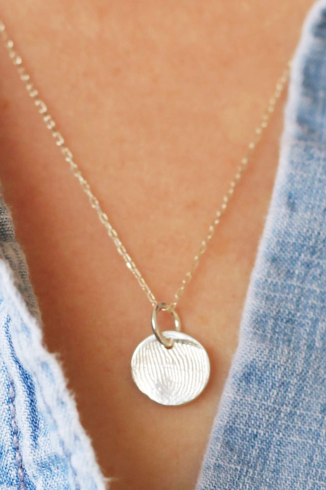 Wear a piece of your loved one close to your heart sterling image of fingerprint necklace solutioingenieria Gallery