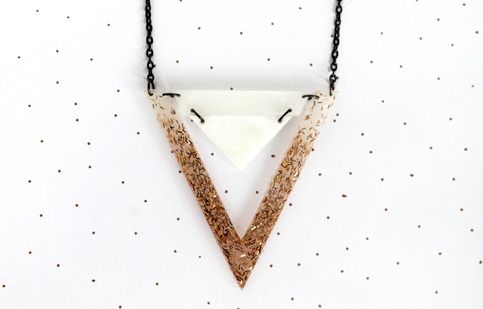 Double Triangle Necklace - Milky White & Gold from Art School Dropout