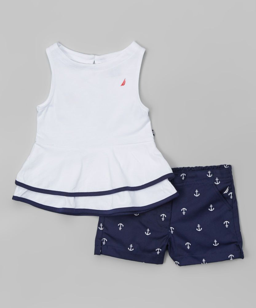 d5d73e685177 NWT Girls Nautica Sail White Peplum Top   Navy Anchor Shorts Set ...