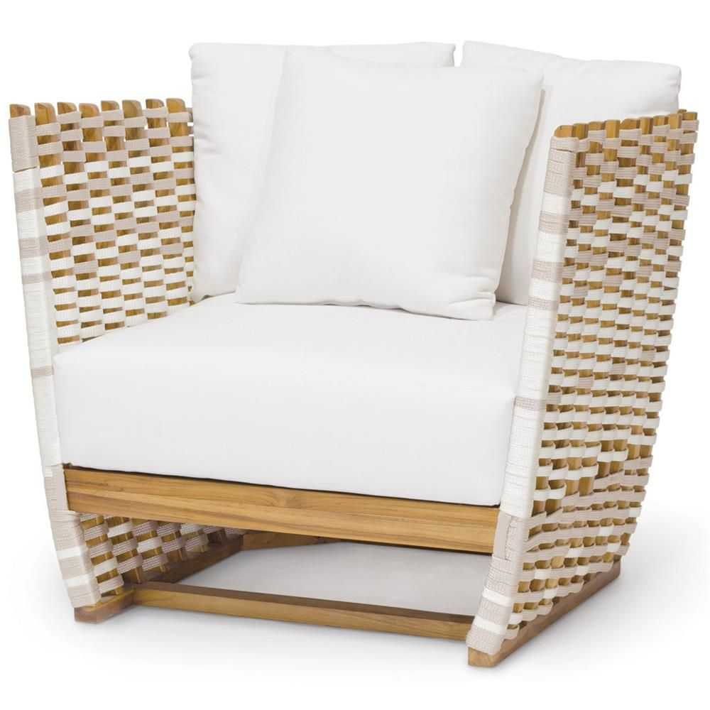 Hines Modern Classic Salt Rope Wrapped Outdoor Lounge Chair