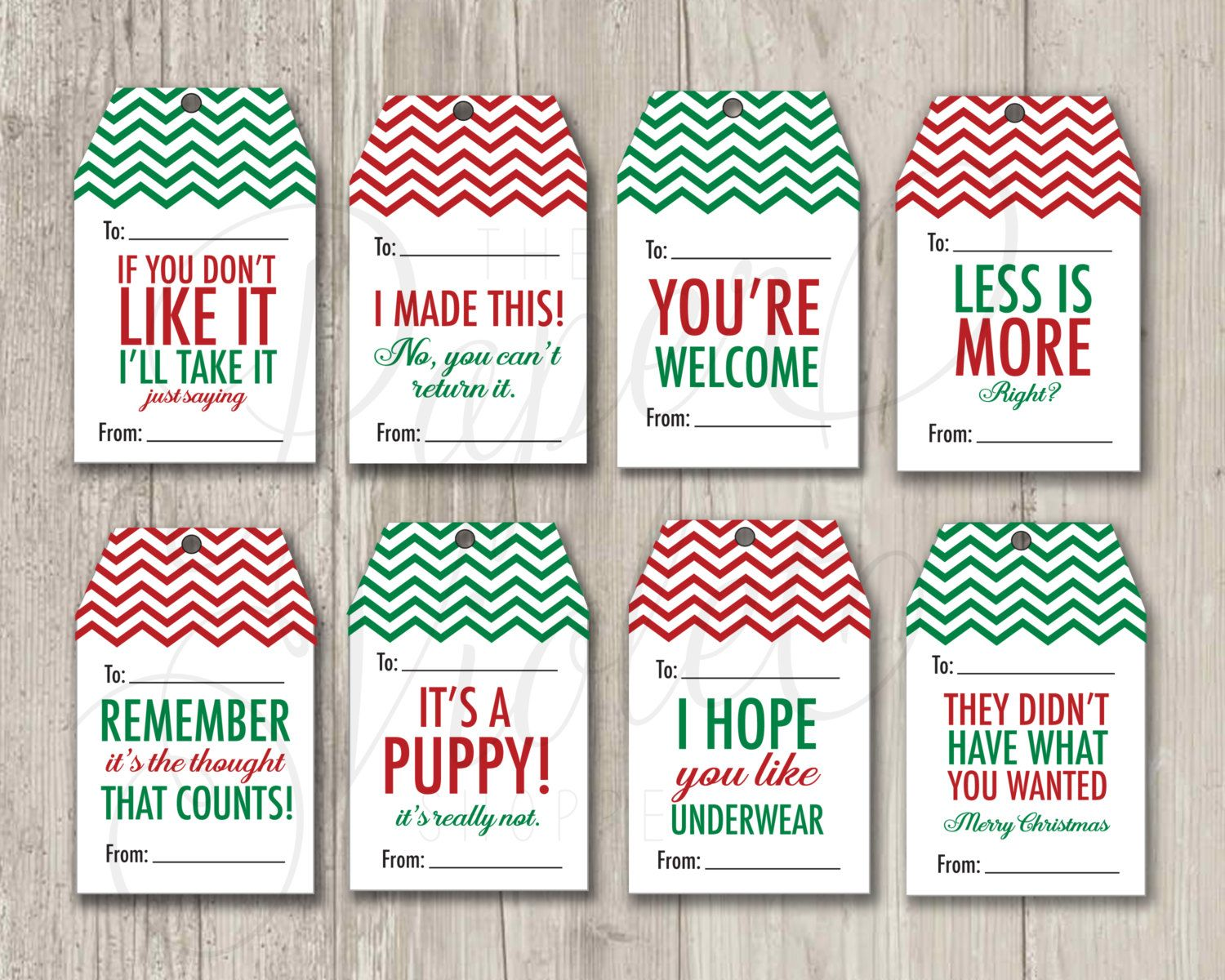 Funny Gift Tags Christmas Tags Mean Gift by ThePaperVioletShoppe ...
