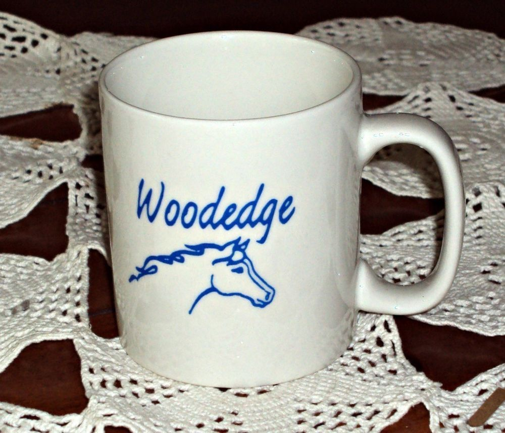 Pottery Woodedge Horse Logo Coffee Mug White & Blue Cup