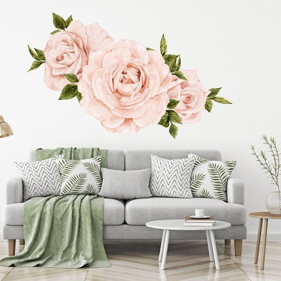 Floral Wallpaper Decals, Blush Pink Roses Wall Decals Set of 3 Large Decals, Boho Decor Botanical Wall Art Mural - WB1010 #happyfallyallwallpaper