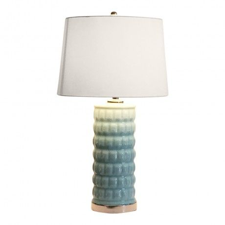 Ceramic Pale Blue Lamp With White Shade Blue Lamp Lamp Nook