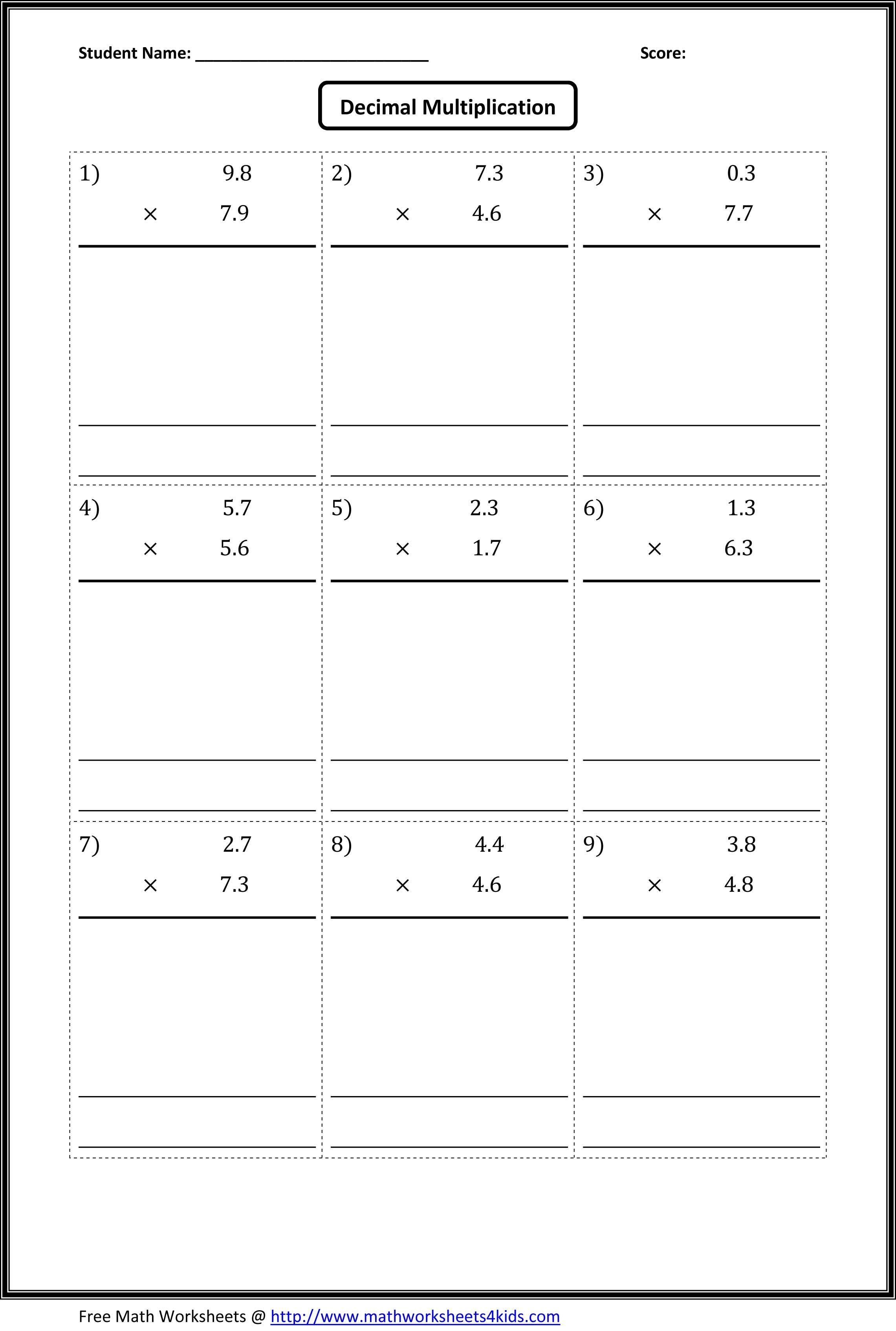 hight resolution of Multiplying Decimals Worksheets   Multiplying decimals