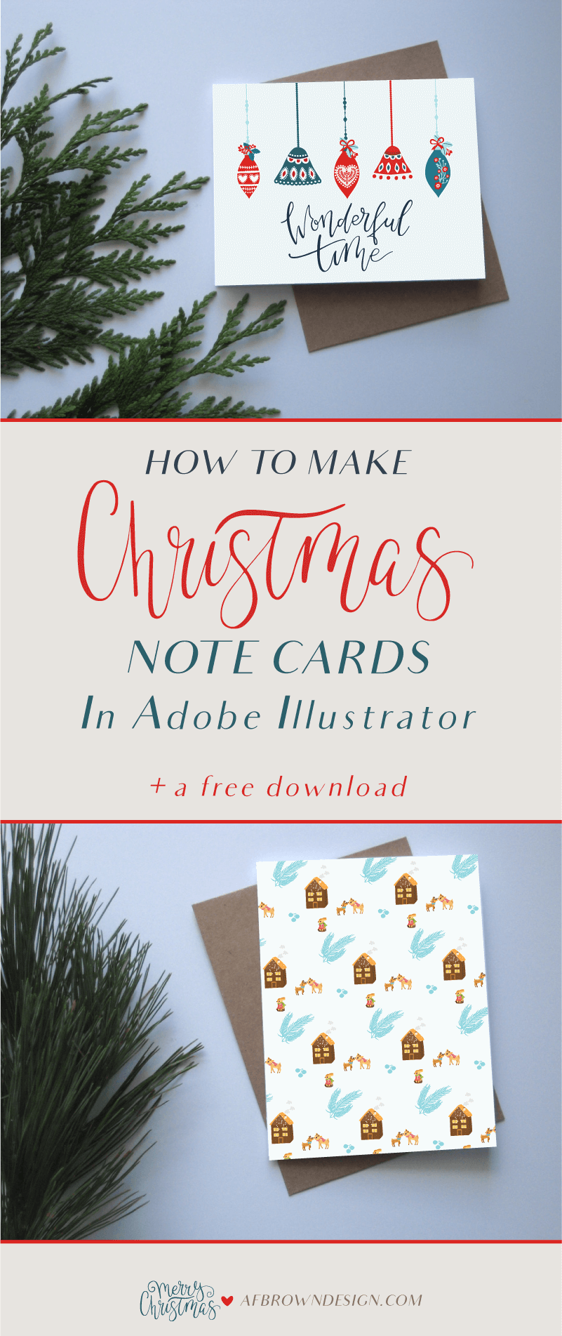 A step-by-step-tutorial on how to make Christmas note cards using Adobe Illustrator.